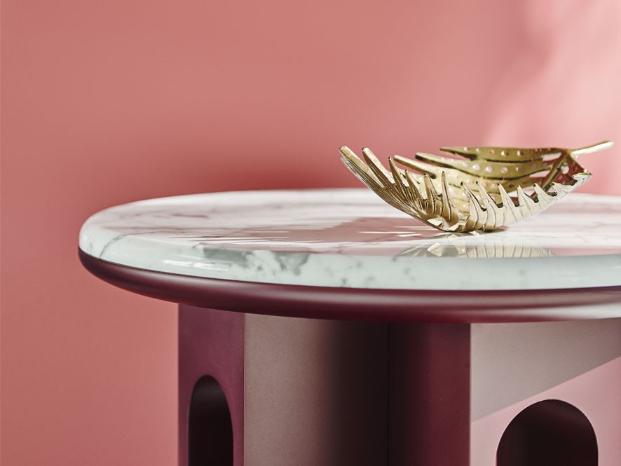 Forecast_Escapade_Hallway_Pink_Feature_wall_Dark_Pink_table_Marble_counter_top_gold_leaf