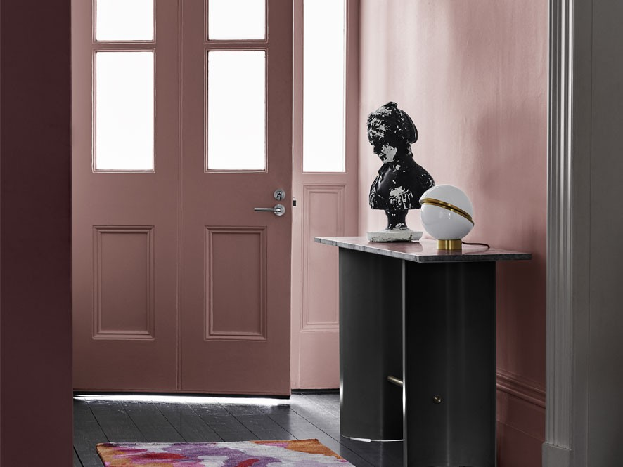 Forecast_reflect_Pink_Entry_Way_front_door_grey_timber_floorboards_Black_sculpture_white_sphere_rug