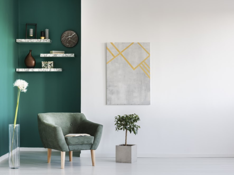 Green_White_Entry_with_chair_white_polished_floor_plant_flower_marble_shelves_marble_clock