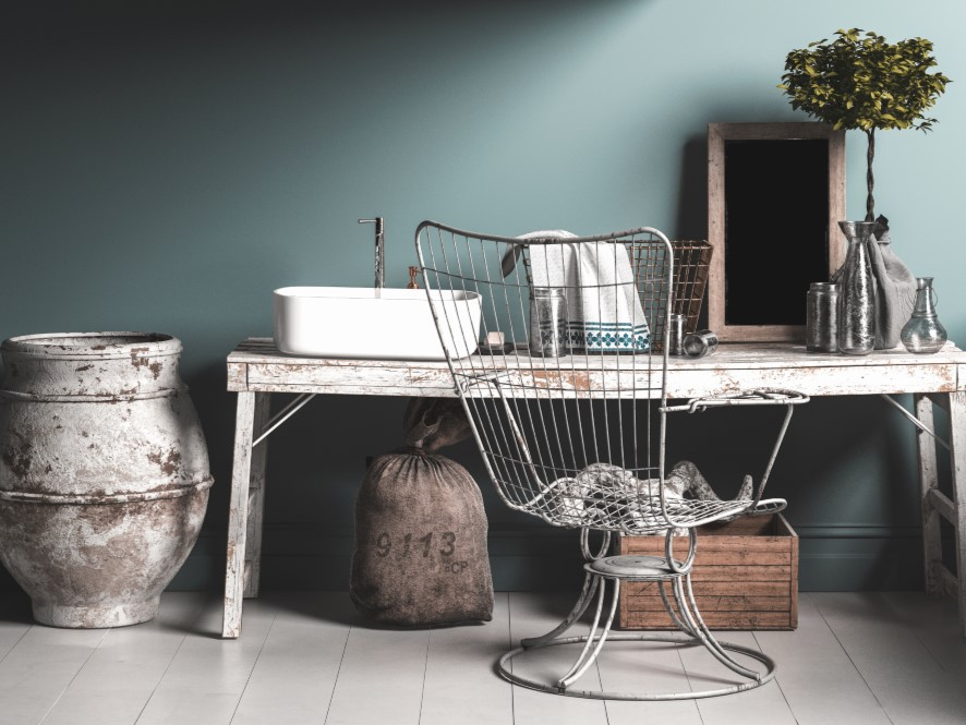Industrial_Chic_Hallway_Grunge_Desk_metal_chair_faded_paint_pot_hand_wash_station
