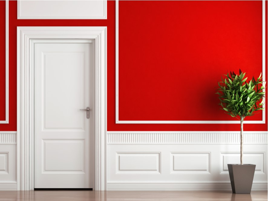 Striking_red_hallway_Contrasting_white_feature_wall_Light_timber_floor_Green_plant_pot