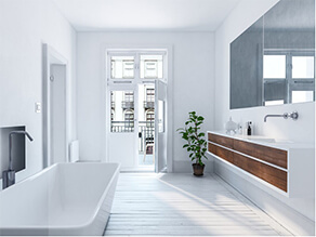 Crisp White Urban Bathroom with Plant and Wooden Floorboards and Door