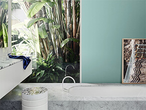 Blue Wall bathroom with Marble Bath and Marble Counter Top with Plants
