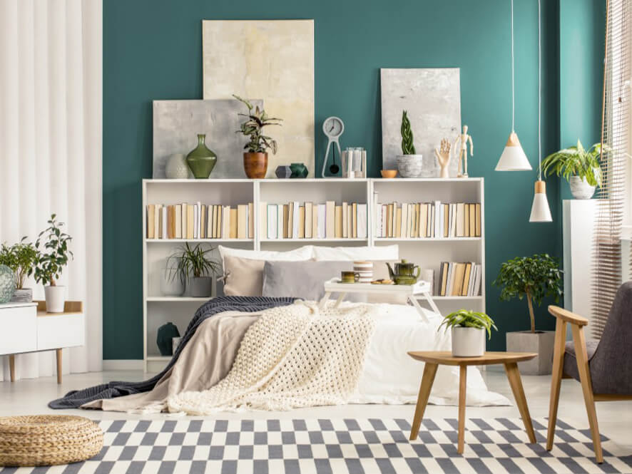 Green Painted Bedroom Wall With Book Case As A Bedhead Inspirations Paint