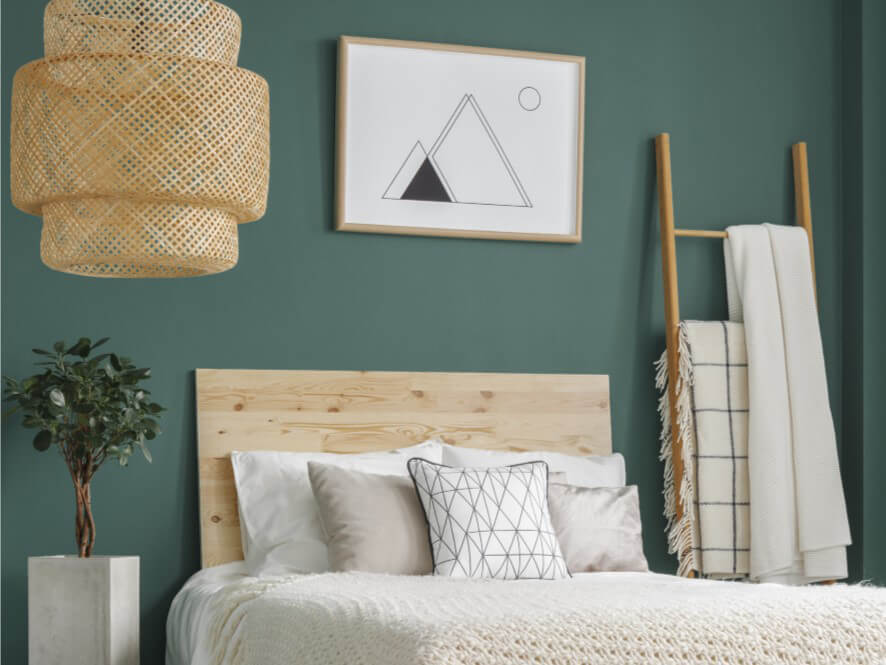 Dark Green Painted Bedroom Wall With Wooden Rack And Art Frame Inspirations Paint