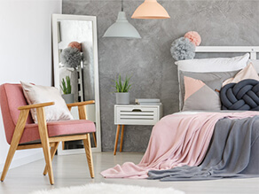 Chic Modern Grey and Pink Bedroom with Concrete Effect Feature Wall
