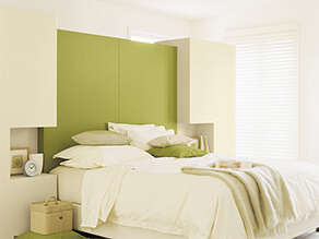 Modern Green Bedroom with Square Tetris Style Bedhead