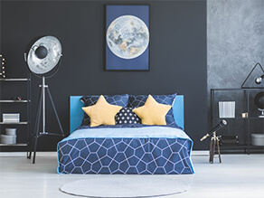 Dark Grey Galaxy Universe Themed Bedroom with Telescope