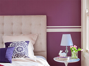 Purple Themed Bedroom Feature Wall With Stripes
