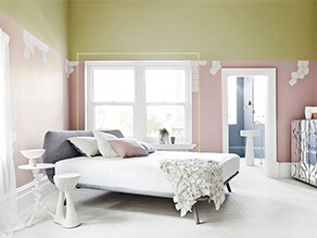 Light Green and Pink Open Bedroom Forest Earthy Style