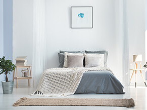 Light Blue Painted Bedroom Of Various Lighter Shades With Throw Rug