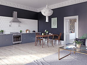 Dark grey and white contrasting dining setting kitchen Light wooden floor with dark wooden table
