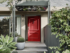 Front Entry Way with Bright Red Door and Neutral Walls Dulux Kinship and Front Garden with Steps