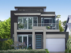 Modern Contemporary Exterior House with Dark Grey Walls and Light Grey Trims with Garden and Bike