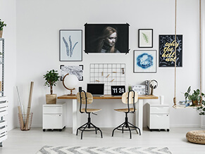 Crisp_white_Neutral_modern_study_scandi_hanging_plant_timber_desk_chair_artwork_rug_globe
