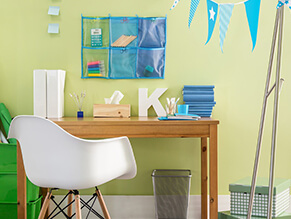 Green_tween_study_space_timber_desk_white_chair_blue_cooks_green_containers_boxes_metal_bin