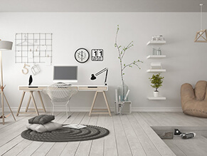 Scandi_vibe_study_space_monotone_white_scheme_white_floorboards_wall_ceiling_desk_rug_beanbag