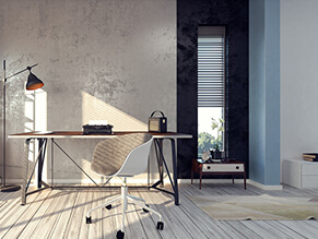 Wallpaper_Industrial_study_space_light_timber_floorboards__metal_desk_cream_rug_Blue_pillar